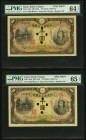 Japan Bank of Japan 1000 Yen ND (1945) Pick 45s3 JNDA 11-48 Two Consecutive Specimens PMG Choice Uncirculated 64 EPQ; Choice Uncirculated 65 EPQ. A pa...