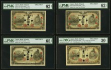 Japan Bank of Japan 5 Yen ND (1943) Pick 50s Specimen PMG Very Fine 30; 5 Yen ND (1944) Pick 55s2 Three Specimens PMG Uncirculated 62 EPQ (2); Gem Unc...