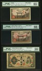 Japan Greater Japan Imperial Government Note 50 Sen 1945 Pick 60s1 Specimen PMG Gem Uncirculated 65 EPQ; 50 Sen 1945 Pick 60s2 Specimen PMG Gem Uncirc...