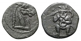 Islands of Spain, Ebusus, late 2nd-early 1st centuries BC. Æ (13mm, 1.74g, 7h). Horse head r. R/ Bes standing facing. CNH -. Green patina, VF