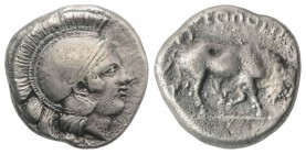 Southern Campania, Neapolis, c. 420-400 BC. AR Didrachm (19mm, 7.39g, 5h). Head of Athena r., wearing crested Attic helmet. R/ Bull butting r. HNItaly...