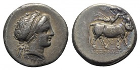 Southern Campania, Neapolis, c. 300-275 BC. AR Didrachm (20mm, 7.34g, 6h). Diademed head of nymph r.; Artemis to l. R/ Man-headed bull standing r.; ab...