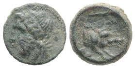 Northern Apulia, Arpi, c. 325-275 BC. Æ (14mm, 3.55g, 12h). Laureate head of Zeus l.; thunderbolt behind. R/ Forepart of boar r., spear above. HNItaly...