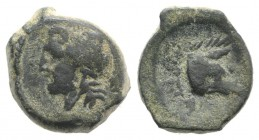 Northern Apulia, Arpi, c. 325-275 BC. Æ (11mm, 2.81g, 12h). Laureate head of Zeus l.; thunderbolt behind. R/ Forepart of boar r., spear above. HNItaly...