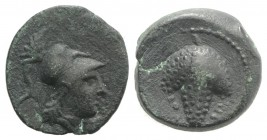 Northern Apulia, Arpi, c. 215-212 BC. Æ (14mm, 2.87g, 9h). Helmeted head of Athena r. R/ Bunch of grapes. HNItaly 650; SNG ANS 646. Dark green patina,...