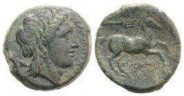 Northern Apulia, Salapia, c. 225-210 BC. Æ (21mm, 7.81g, 6h). Poullos, magistrate. Laureate head of Apollo r. R/ Horse prancing r.; trident above. HNI...