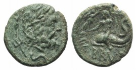 Southern Apulia, Brundisium, c. 2nd century BC. Æ Semis (18mm, 4.77g, 10h). Wreathed head of Neptune r.; to l., Victory, crowning him with wreath; tri...