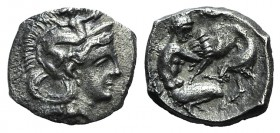 Southern Apulia, Tarentum, c. 380-325 BC. AR Diobol (12mm, 1.06g, 4h). Head of Athena r., wearing crested helmet decorated with Skylla. R/ Herakles kn...