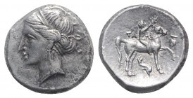Southern Apulia, Tarentum, c. 290-281 BC. AR Nomos (21mm, 7.84g, 1h). Nude youth on horse standing r., placing wreath on horse's head; ΦI below. R/ Ph...