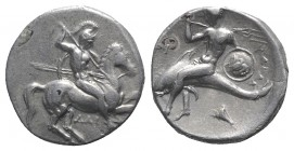 Southern Apulia, Tarentum, c. 302-290 BC. AR Nomos (20mm, 7.84g, 6h). Warrior, holding shield and two spears, preparing to cast a third, on horseback ...