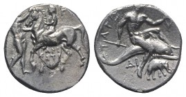 Southern Apulia, Tarentum, c. 280-272 BC. AR Nomos (21mm, 6.19g, 1h). Youth on horseback l.; to l., attendant standing r., crowning horse; ΓΥ to r., A...