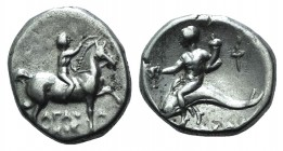 Southern Apulia, Tarentum, c. 272-240 BC. AR Nomos (20mm, 6.33g, 9h). Youth on horseback r., crowning horse with wreath. R/ Phalanthos riding dolphin ...