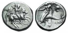Southern Apulia, Tarentum, c. 272-240 BC. AR Nomos (18mm, 6.44g, 12h). Aristokles and Di-, magistrates. Horseman r., holding shield and two spears, pr...