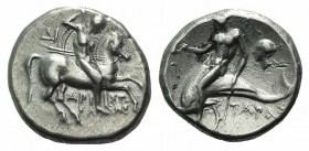 Southern Apulia, Tarentum, c. 272-240 BC. AR Nomos (19mm, 6.24g, 11h). Aristokles and Di-, magistrates. Horseman r., holding shield and two spears, pr...