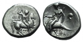 Southern Apulia, Tarentum, c. 272-240 BC. AR Nomos (20mm, 6.37g, 6h). Aristokles and Di-, magistrates. Horseman r., holding shield and two spears, pre...