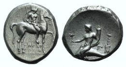 Southern Apulia, Tarentum, c. 272-240 BC. AR Nomos (19mm, 6.34g, 11h). Helmeted warrior on horseback r., holding lance and shield; I-HPAK/ΛHTOΣ in two...