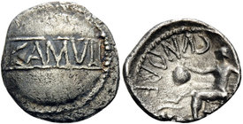 CELTIC, Britain. Trinovantes & Catuvellauni. Cunobelin, circa AD 10-43. Unit (Silver, 14 mm, 1.21 g, 5 h). CAMVL in panel within dotted circle. Rev. C...