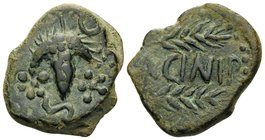 SPAIN. Acinipo. 1st century BC. (Bronze, 21.5 mm, 7.44 g, 9 h). Bunch of grapes; below, two stars and S; above, to right, crescent. Rev. ACINIPO betwe...
