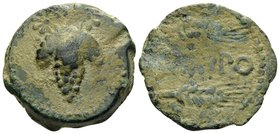 SPAIN. Acinipo. 1st century BC. (Bronze, 23 mm, 8.86 g, 12 h). Bunch of grapes with two stars above. Rev. ACINIPO between two grain ears. SNG BM Spain...