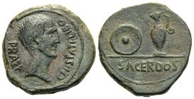 SPAIN. Uncertain mint. Time of Augustus, 27 BC-14 AD. (Bronze, 23 mm, 8.93 g, 11 h), Cn. Statius Libo. CN• STATI• LIBO PRAEF Bare head of Libo to righ...