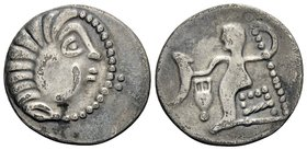 CELTIC, Lower Danube. Uncertain tribe. Circa 100 BC. Drachm (Silver, 19.5 mm, 2.22 g, 11 h), imitating an issue of Alexander III. Celticized head of H...