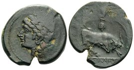 GAUL. Massalia. Circa 200-121 BC. (Bronze, 26 mm, 10.18 g, 11 h). Laureate head of Apollo to left. Rev. MAΣΣAΛIHTAN Bull butting to right, with grape ...