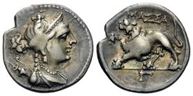 GAUL. Massalia. c. 130-121 BC. Drachm (Silver, 17 mm, 2.53 g, 4 h). Diademed and draped bust of Artemis to right, wearing pendant earring and pearl ne...