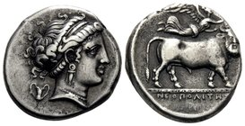 CAMPANIA. Neapolis. Circa 320-300 BC. Didrachm or nomos (Silver, 19 mm, 7.25 g, 10 h), Diophanes. Diademed head of Parthenope to right, wearing pendan...