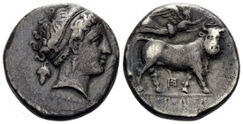 CAMPANIA. Neapolis. Circa 320-300 BC. Didrachm or nomos (Silver, 19 mm, 7.18 g, 6 h), Diophanes. ΔIOΦANOYΣ Diademed head of nymph to right, wearing tr...