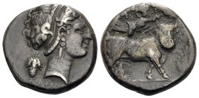 CAMPANIA. Neapolis. Circa 320-300 BC. Didrachm or nomos (Silver, 19 mm, 7.42 g, 10 h), Diophanes. ΔIOΦANO[YΣ] Diademed head of nymph to right, wearing...