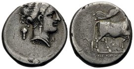 CAMPANIA. Neapolis. Circa 320-300 BC. Didrachm or nomos (Silver, 21 mm, 7.34 g, 10 h). Diademed head of nymph to right, wearing triple-pendant earring...