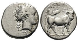 CAMPANIA. Neapolis. Circa 300-275 BC. Didrachm or nomos (Silver, 18.8 mm, 7.20 g, 9 h). Diademed head of nymph to right, wearing triple-pendant earrin...
