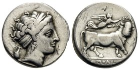 CAMPANIA. Neapolis. Circa 300-275 BC. Didrachm or nomos (Silver, 18 mm, 6.98 g, 9 h). Diademed head of nymph to right, wearing triple-pendant earring ...