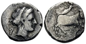 CAMPANIA. Neapolis. Circa 320-300 BC. Didrachm or nomos (Silver, 20 mm, 7.18 g, 1 h). Diademed head of nymph to right, wearing triple-pendant earring ...