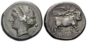 CAMPANIA. Neapolis. Circa 300-280 BC. Didrachm or nomos (Silver, 20.5 mm, 7.20 g, 8 h). Diademed head of nymph to left, wearing triple-pendant earring...