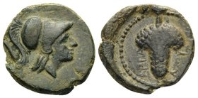 APULIA. Arpi. Circa 215-212 BC. (Bronze, 15 mm, 3.08 g, 10 h). Helmeted head of Athena right. Rev. ΑΡΠΑΝOY Bunch of grapes. HN III, 650. SNG ANS 646. ...