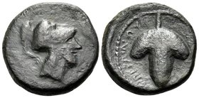 APULIA. Arpi. Circa 215-212 BC. (Bronze, 15.5 mm, 3.58 g, 7 h). Helmeted head of Athena right. Rev. ΑΡΠΑΝOY Bunch of grapes. Buceti 38b ( this coin, b...