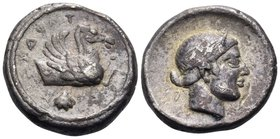 CALABRIA. Tarentum. Circa 470-465 BC. Drachm (Silver, 16 mm, 4.01 g, 6 h). TAPAS ( retrograde ) Forepart of hippocamp to right; below, scallop shell. ...