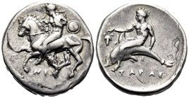 CALABRIA. Tarentum. Circa 344-340 BC. Nomos (Silver, 21.5 mm, 7.71 g, 1 h). Ephebe, nude, holding a small round shield with his left hand and the rein...