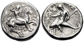 CALABRIA. Tarentum. Circa 315-302 BC. Nomos (Silver, 21 mm, 7.82 g, 3 h), Epa.. and Ari.. magistrates. E-Π-Α / API Nude warrior, on horseback right, h...