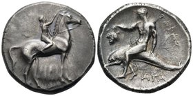 CALABRIA. Tarentum. Circa 280 BC. Nomos (Silver, 21 mm, 7.82 g, 3 h), Sa.. and Philiarchos and Aga.. magistrates. Nude ephebe, on horseback to right, ...