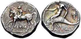 CALABRIA. Tarentum. Circa 272-240 BC. Nomos (Silver, 18 mm, 6.25 g, 9 h), Eu..., and Tistiar..., magistrates. EY TI-ΣTIAP Ephebe, nude, holding the re...