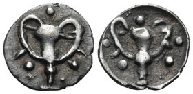 CALABRIA. Tarentum. Circa 280-228 BC. Obol (Silver, 10 mm, 0.48 g, 3 h). Kantharos; around, three pellets. Rev. Kantharos; around, five pellets. HN II...