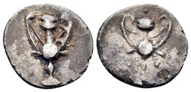 CALABRIA. Tarentum. Circa 280-228 BC. Obol (Silver, 10 mm, 0.41 g, 5 h). Kantharos. Rev. Kantharos with three pellets in the fields . HN III 1076. SNG...