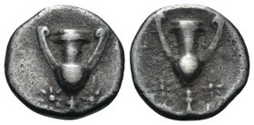 CALABRIA. Tarentum. Circa 280-228 BC. Obol (Silver, 9 mm, 0.49 g, 9 h). Kantharos, flanked by two stars below. Rev. Kantharos, flanked by two stars be...