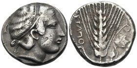 LUCANIA. Metapontum. Circa 400-340 BC. Didrachm or nomos (Silver, plated, 20 mm, 7.22 g, 5 h). Head of Demeter to right. Rev. ΜΕTAΠO Ear of barley; to...