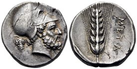 LUCANIA. Metapontum. Circa 400-340 BC. Didrachm or nomos (Silver, 21 mm, 7.85 g, 4 h). Bearded head of Leukippos to right, wearing Corinthian helmet; ...