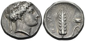 LUCANIA. Metapontum. Circa 340-330 BC. Nomos or Didrachm (Silver, 20 mm, 7.80 g, 2 h). Head of Demeter to right, wearing barley wreath, triple-pendant...