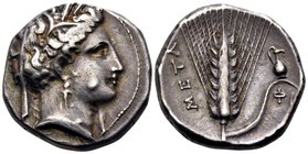 LUCANIA. Metapontum. Circa 340-330 BC. Nomos or Didrachm (Silver, 19.5 mm, 7.81 g, 11 h). Head of Demeter to right, wearing barley wreath, triple-pend...