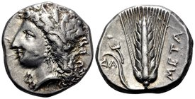 LUCANIA. Metapontum. Circa 330-290 BC. Didrachm or nomos (Silver, 19.5 mm, 7.92 g, 9 h). Head of Demeter to left, wearing grain wreath, triple pendant...